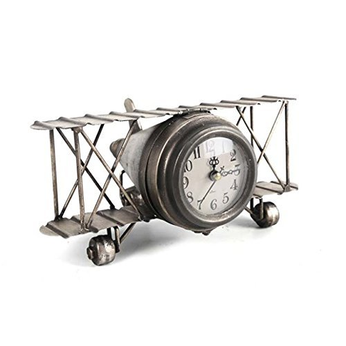 Retro Shabby Metall Uhr Flugzeug Doppeldecker Home Tisch Uhr Ornament Geschenk