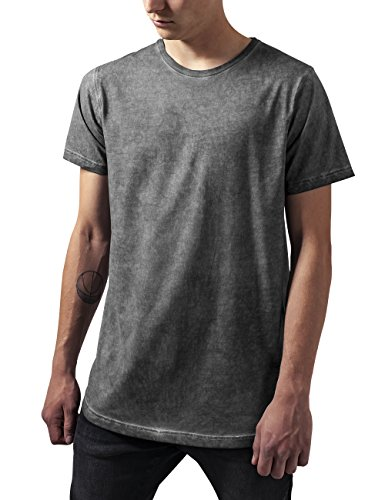 Urban Classics Herren T-Shirt Shaped Long Cold Dye Tee Grau (darkgrey 94)