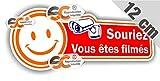 Sticker Autocollant Souriez Vous êtes filmés 12cm / 4,5cm