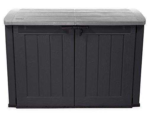 Ondis24 XXL Mülltonnenbox für 3 x 120 Liter Mülltonnen Fahrradgarage Gartenmöbelbox Gerätebox Gartenbox Gartenschuppen XXL (Anthrazit/Grau)