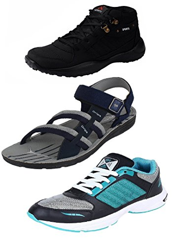 Chevit-Mens-Stylish-Trio-Pack-of-3-Outdoor-Tracking-Running-Shoes-and-Sandals-and-Floaters