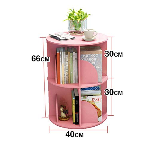 Jazi Regale Regale Bücherregal, 360 deg; Rotierendes Bücherregal Einfaches Buch Student Landing Rack Organizer Schrank Rack 3 Farben Racks,Rosa,2-Tier -