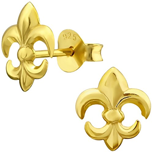 EYS JEWELRY Damen Ohrstecker Lilie Fleur de Lis 925 Sterling Silber vergoldet 9 x 8 mm im Schmucketui Ohrringe