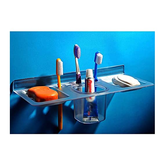 QUICK SILVER Acrylic Unbreakable 4 in 1 Toothbrush, Tumbler and Double Soap Dish (13x29.22x6.5 cm, Clear)