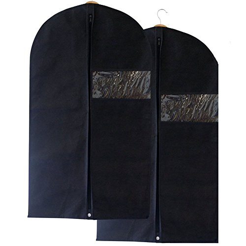 Breathable-Suit-Clothes-Garment-Cover-Carrier-Bag-with-Secret-Internal-Zipped-PocketStore-Protect-Clothing2-pcs-Black100cm60cm