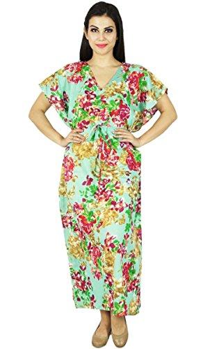 Phagun Caftan Robe Imprimée Maxi Vêtement De Nuitlongues En Coton Bohemian Sea Vert Et Voilet