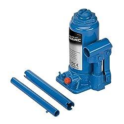 Cric bouteille hydraulique puissant et compact. Tous les crics ont une selle de levage réglable par vis et sont fournis dans un étui.
