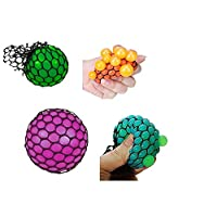 ‏‪Tokari wala Mesh Squishy Ball Squish Balls for Stress Relief Hand Movement Gag Toy (Multicolour) - Pack of 1‬‏