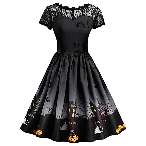 GOKOMO Halloween Damen Kurzarm Halloween Retro Vintage Spitzenkleid A Line Pumpkin Swing Dress(Schwarz,Medium) -