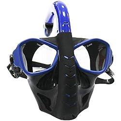 TMY Plein Visage Masque de plongée sous-Marine Tuba Chasse sous-Marine équipement de plongée sous-Marin Anti-Brouillard plongée en apnée pour la Natation (Color : Blue)