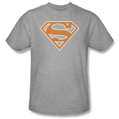 Superman - Herren Burnt Orange & White-Schild T-Shirt In Heather Heather