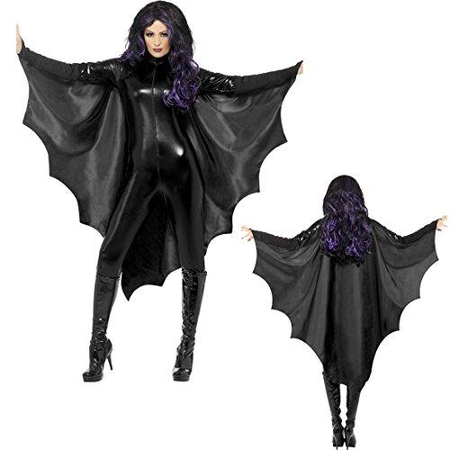 Halloween Fledermausflügel Vampirumhang Damen schwarz Vampir Cape Umhang Fledermaus Kostüm Zubehör Blutsauger Mäntelchen Batgirl Outfit Vampirin