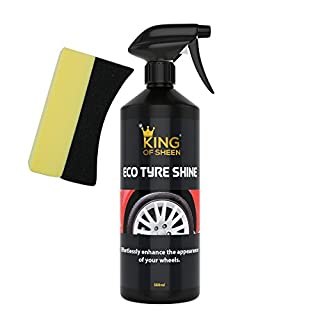 King of Sheen Eco Tyre Shine,Tyre Black and Applicator Sponge, Effortlessly Enhance the Appearance of your Wheels, 500ml