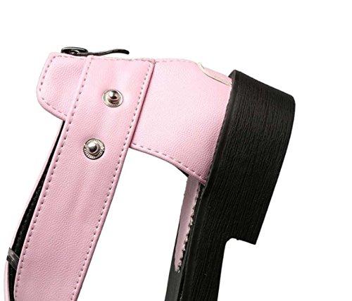 NobS Pelle Donna Summer Girl Zipper Sandali Large Size 40-43 Hollow Pu tacco basso dei pattini di punta di pigolio punta aperta pattini romani Pink
