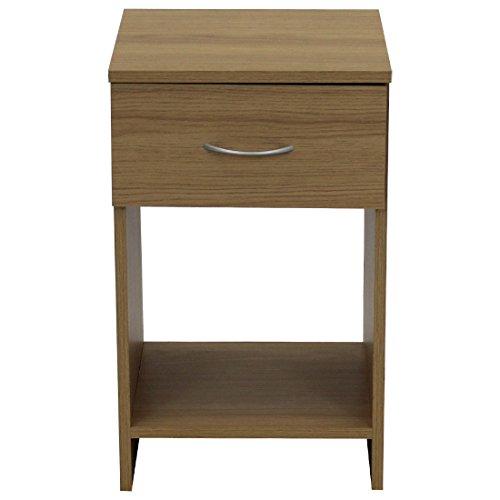 Devoted2Home Budget Bedroom Furniture with 1-Drawer Bedside Cabinet, Wood, Oak Brown, 33 x 34.29 x 56.5 cm