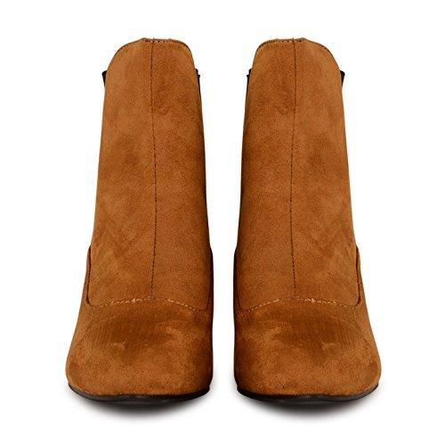 Neuer Damen Damen New Chelsea Chunky Blockabsatz Twin Zwickel Stiefelette Schuhe Braun - Tan Suede