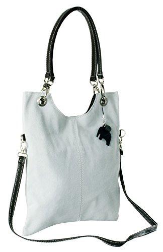 Big Handbag Shop in pelle scamosciata, Maniglia superiore sera frizione borsa a tracolla Ice Grey