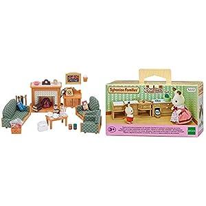 SYLVANIAN FAMILIES Deluxe Living Room Set Mini Muñecas Y Accesorios, (Epoch para Imaginar 5037) + Sylvanian Families-5054131052228 Set Horno, Fregadero y encimera Cocina, (Epoch para Imaginar 5222)