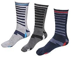 Indiweaves Mens Cotton Socks (Pack of 3 Socks)-Grey/Grey/Blue
