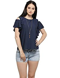 Serein Women's Top (Navy Crepe top with Cold Shoulder and Ruffles)