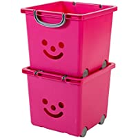 Preisvergleich für IRIS, 2er-Set Würfelboxen 'Smiley Kids Boxes', KCB-32, Kunststoff, mit Rollen, lippenstiftrosa, 33 x 32 x 29 cm