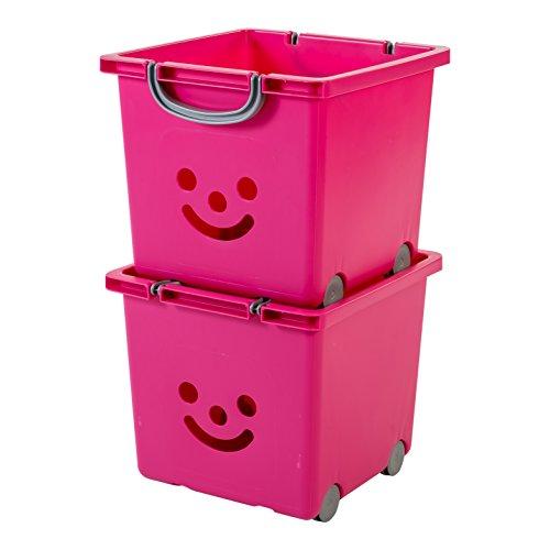 IRIS, 2er-Set Würfelboxen 'Smiley Kids Boxes', KCB-32, Kunststoff, mit Rollen, lippenstiftrosa, 33 x 32 x 29 cm