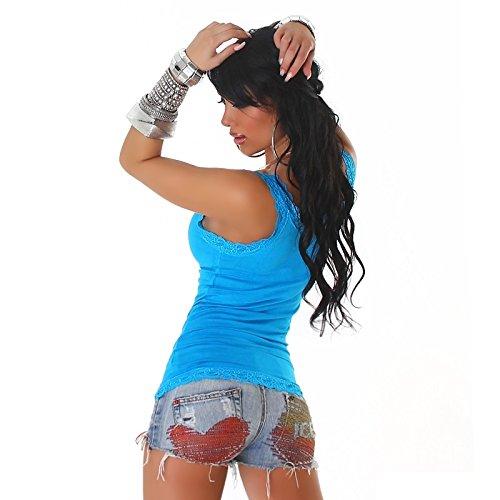 Summer Dessus femmes Sexy en dentelle pour femme avec haut sans manches Taille unique 6, 8, 10, 12–ONE Taille 34, 36, 38, 40 Bleu - Bleu clair