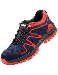 Zapatos de Seguridad Mujer Hombre Zapatos de Trabajo Puntera de Acero Antideslizante Zapatos Bajos de Senderismo Zapatos Transpirables Zapatos de Senderismo Unisex