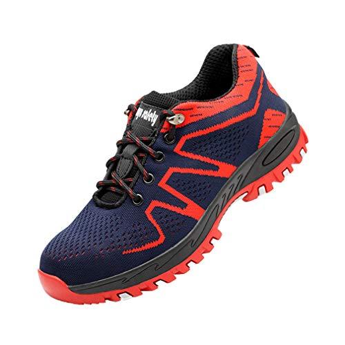 Zapatos de Seguridad Mujer Hombre Zapatos de Trabajo Puntera de Acero Antideslizante Zapatos Bajos de Senderismo Zapatos Transpirables Zapatos de Senderismo Unisex Rojo 39