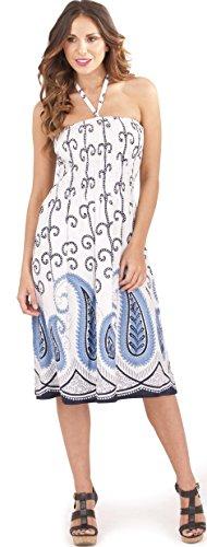 Atemberaubende Damen 100% Baumwolle Print 3 in 1 Neckholder oder Trägerlos  Sommer Kleid/Lang ...