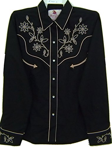 Modestone Women's Floral Embroidered Long Sleeved Fitted Western Hemd Black (Dickies-comfort-taille)