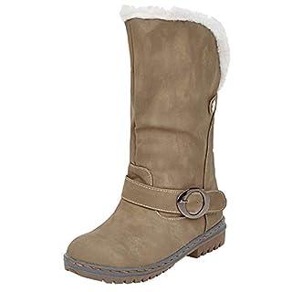 Stiefel Damen CoolJun Frauen Boots Winterschuhe Flock Winter Warme Stiefel Schneeschuhe Kurze Stiefelette Pump Stiefel Freizeitschuhe Winterstiefel Blockabsatz Stiefel
