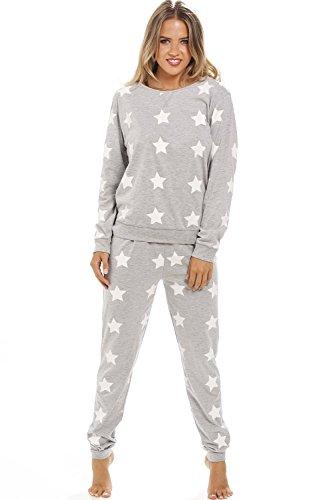 Camille - Damen Schlafanzug aus reiner Baumwolle - Grau mit weißen Sternen 36/38