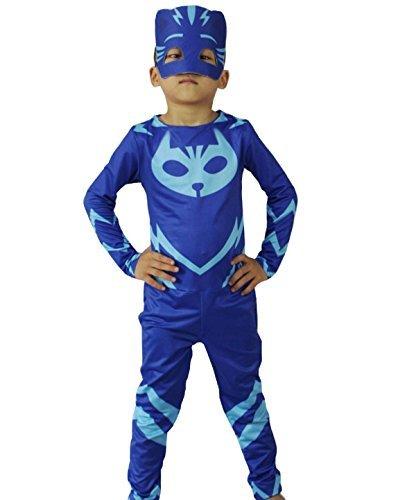♛ Größe 110-3/5 Jahre - Kostüm Verkleidung Karneval und Halloween von Catboy Blau Super Helden Pj Masken männliches Kind