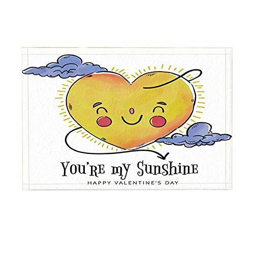 JoneAJ Valentinstag Bad Teppiche von herzförmige Sonne Wolke du bist Mein Sonnenschein rutschfeste Fußmatte Boden Eingänge Indoor Haustür Matte Kinder Badematte 40X60cm Bad-Accessoires