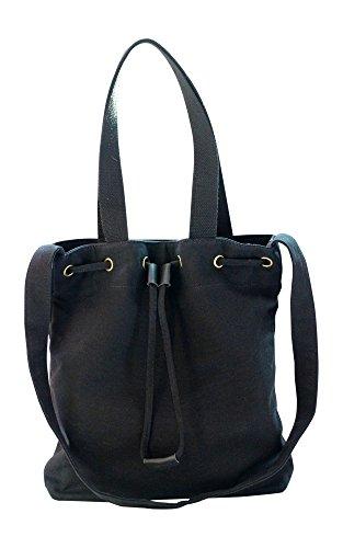 Kronya® | Elegante Tragetasche aus Stoff | Clutch Damen Damenhandtasche Damentasche Handtasche Henkeltasche Rucksack Schulrucksack Schultasche Schultertasche Shopper Tasche Umhängetasche (Schwarz) (Zara City Bag)