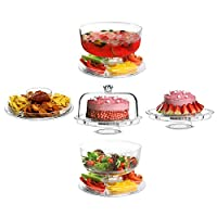 3 in 1 Acrylic Multifunctional Cake Stand Display Rack Cupcake Holder Dome Plastic Lid Serving Salad Bowl