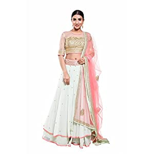 Pushp Paridhan Wedding Wear Traditional Ethnic Wear Machine With Handwork Pista Green Lehenga Choli Set For Women