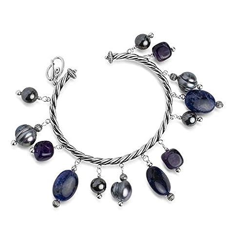 Carolyn Pollack Sterling Silver Amethyst Hematite Sodalite Freshwater Cultured Pearls Beaded Cuff Bracelet