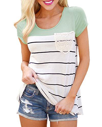 Sommer-kurzarm-top (Flying Rabbit Damen Shirt Sommer Kurzarm Farbblock Streifen Tops Rundhals Bluse, Stil1-grün, XL)