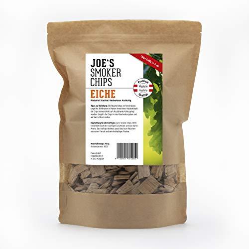 Joe\'s smoker chips 1005 Eiche 750g Chips 2-4 cm, Premium Räucherchips für EIN optimales Raucharoma beim Grillen. Rindenfreies Räucherholz - geeignet für Kugelgrill, Standgrill und Gasgrill.