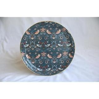 Quality Round Fibreglass Tray in Exclusive William Morris Strawberry Thief Blue Design