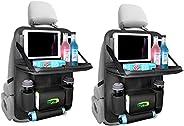 منظم مقعد السيارة الخلفي من الجلد مع حامل طاولة مكون من قطعتين ومزود بـ 10 جيوب تخزين، اكسسوارات سفر رائعة للا