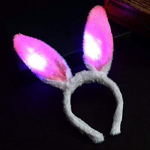 (VPlus 5PCS / Lot LED-Helle Leuchtende Kaninchen-Ohren, die Bunny Ears Headdress-Kopf-Haarband Hoop-Spielzeug-Mädchen-Dame Kid Birthday Halloween-Party-Versorgungsmaterial-Kostüm Blinken)