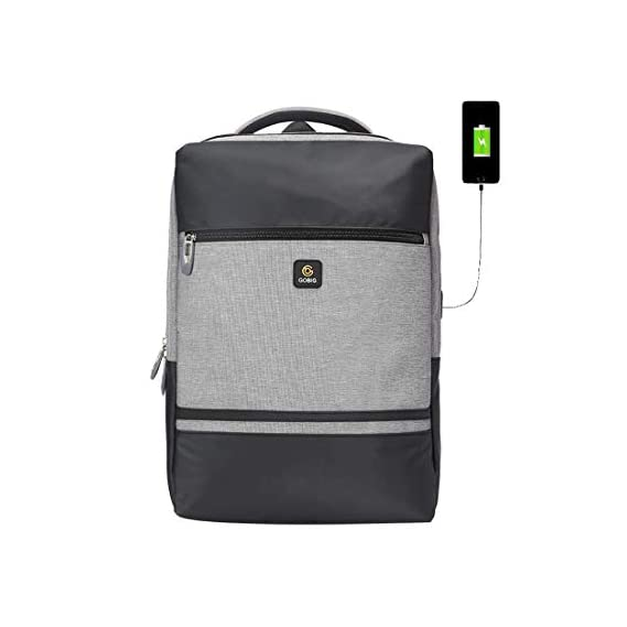 Voila GOBIG USB Bag Laptop City Anti-Theft Backpack (Grey & Black)