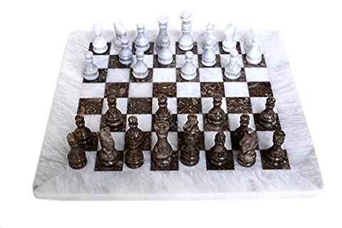 RADICAL Handmade White and Grey Oceanic Marble Full Chess Game