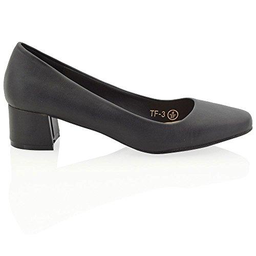 New Womens Low Mid Block Heel Slip On Ladies Causal Party Pumps...