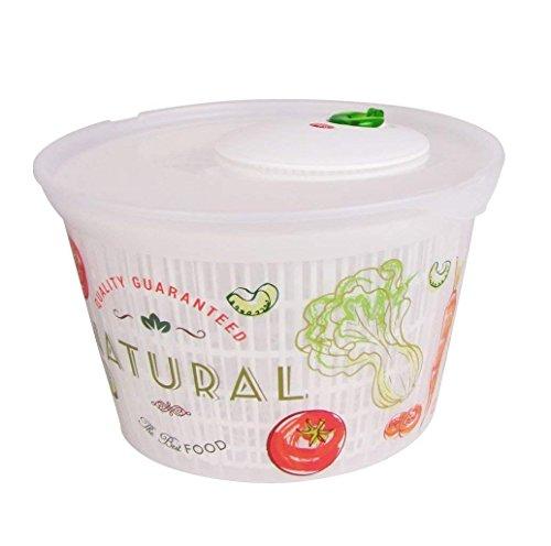 Salatschleuder transparenter Kunststoff Vintage-Design ca. 4 Liter BPA-Frei (Design2) -