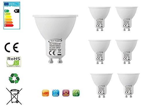 Tech Traders 6x GU10LED-Glühlampe COB 6Watt Strahler Reflektor warm weiß (2Jahre Garantie) (Standard-prozess-energie)