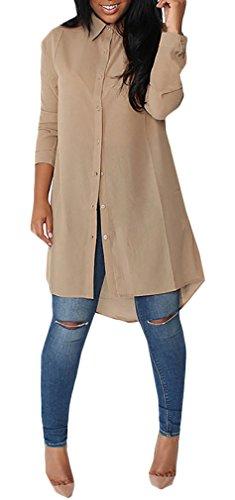 HaiDean Langarmshirt Damen Elegant Fashion Casual Irregular Vorne Kurz Hinten Lang Jungen Hipster Chiffon Bluse Langarm Revers Einfarbig Locker Frühling Longshirt Hemd Top (Color : Khaki, Size : S)